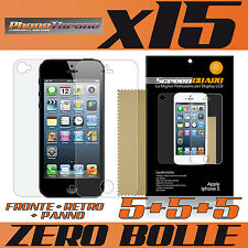 15x PELLICOLA per IPHONE 5 FRONTE + RETRO + PANNO Protettiva Display per APPLE