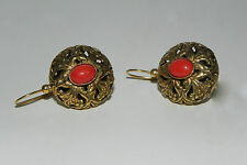 Copper Gold Plated Coral Earrings Made in Italy