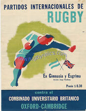 CAPITOL, ARGENTINA v OXFORD & CAMBRIDGE 8 Aug 1949 RUGBY PROG at BUENOS AIRES