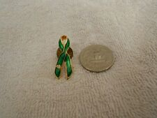 Green Inlay Gold Tone Ribbon Pin Heart Cut-Out