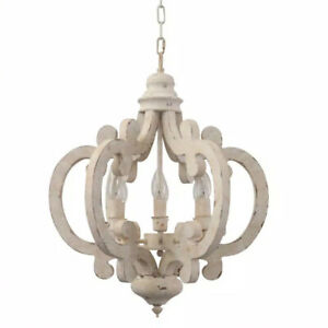 Unbranded Cottage Chic Crown 6-Light Distressed White Wood Chandelier
