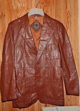 VINTAGE World Wide Sports Wear Genuine Leather Coat/Blazer Size 40 Color Brown
