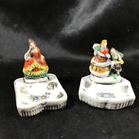 Pair of Antique Porcelain Figurine Trinket Jewelry Dishes