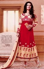 RED-BEIGE ANARKALI BOLLYWOOD SALWAR KAMEEZ SUIT PARTY DRESS MATERIAL LADIES DEN