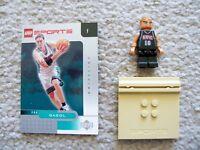 LEGO Basketball - Rare NBA Minifig Gasol Memphis 16 w/ Stand & Card - Excellent