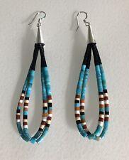 Santo Domingo Turquoise  Sterling Double Loop Earrings - Dorene Calabaza