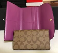 COACH WOMAN'S SIGNATURE PVC AND LEATHER CHECKBOOK WALLET F57319