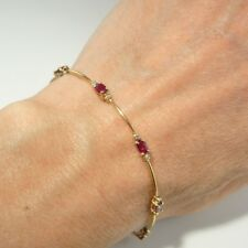 NATURAL RED RUBY Diamond 14K Gold Tennis Link Bracelet Delicate Dainty Oval Cut