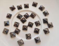 25 x 4mm Grey Pyramid Spike Stud Flat Back /Scrapbooking /Hair Clips /Nail Art