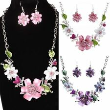 Women Fashion Costume Wedding Crystal Necklace Earring Jewelry Sets Party