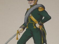 [COSTUMES MILITARY EMPIRE] Alphonse LALAUZE Gouache orig. Off. Inf Nassau 1815