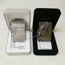 Zippo Lighter Gargoyle 3 Side Black Ice + Tribal Cross Emblem Silver SET USA