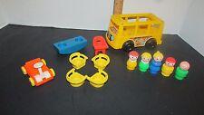 Fisher Price Vintage Little People Mini yellow bus nursery school seesaw lot