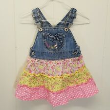 OshKosh 18 Months Overalls Dress Tiers Skirt Pink Floral Vestbak Jean Jumper