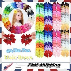 40/80 Pcs Grosgrain Ribbon Pinwheel Alligator Clips Hair Bows Gift for Girl Baby