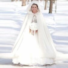 Gorgeous Winter Bridal Wedding Jacket Long White Cape Cloak Wraps New