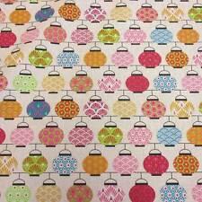 Stoff Baumwolle Japan Lampions rosa grün Chochin Meterware Seigaiha Asanoha 2017