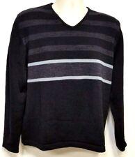 BANANA REPUBLIC Black & Dark Gray Stripe V-Neck Sweater - Merino Wool - Medium