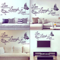 3D Live Laugh Love Quotes Butterfly Wall Stickers Art Room Decal Home Decor New