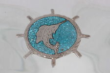 STERLING PLATA DE JALISCO VHLC MEXICO TURQUOISE STONE SWORD FISH BOLO CLASP 6578