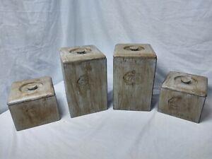 Large Canister Set Of 4 Wood w/ plastic inserts Lids Vintage Kitchen Decor