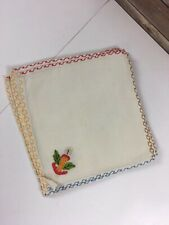 Vtg Cloth Napkin Set of 6 Linen Embroidered Christmas Holidays 8