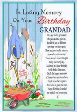 LARGE GRANDAD BIRTHDAY MEMORIAL BEREAVEMENT GRAVESIDE  CARD & FREE HOLDER 1