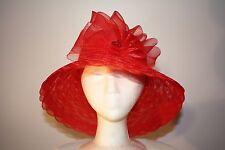 Women's Red Wide Brim Polyester Hat