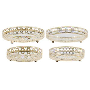 Gold Mirror Tray Perfume Jewelry Accessories Organizer Cosmetic Display Dish