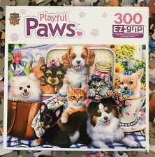 MasterPieces Playful Paws Fun Size Jigsaw Puzzle 300 Puppies Kittens Complete