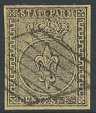 ITALIA-STATI Parma: 1852 5c giallo liscio 4 margine - 2026