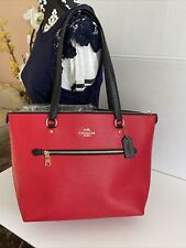 Coach Bag Cross Grain Leather Gallery Color Block Zip Tote Bright Red