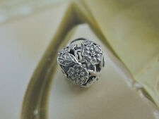 AUTHENTIC PANDORA silver CHARM Floral Heart Padlock bead flower heart #791397