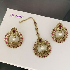 Antique gold pearl pink earrings tikka set Indian bridal pakistani hijab party