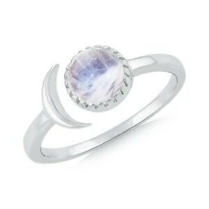 Rainbow Moonstone Gemstone Solitaire Ring 925 Sterling Silver Jewelry SRG01910WW