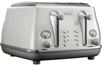 De'Longhi CTOC4003W Icona 4 Slice Wide-Slot Toaster - White - RRP $179.00
