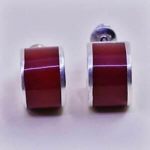 """0.5"""", Vintage sterling silver handmade hoops, 925 Huggie earrings w/ red enamel"""
