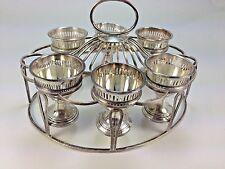 Elegant Antique Ellis -Barker England SIlver Plate 6 Cup Egg Cup Holder & Stand