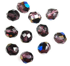 10 Indian Summer Firepolished Glass Faceted Round Beads 8MM