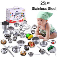 25x Set Kids Play House Kitchen Toys Game Cookware Cooking Utensils Pots Pans UK