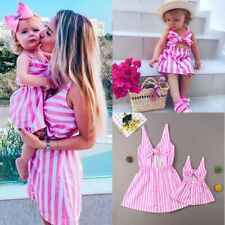 Mother&Daughter Dress Matching Mom Girl Stripe Bow Maxi Dress Family Matching