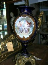 200 Year Antique Sevres Porcelain Jeweled Imperial Ormolu Urn with Bronze &Gold