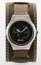 Relic Watch Men Big Tic Stainless Silver Water Resist Leather Brown Black Quartz