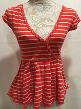 FREE PEOPLE Coral Striped Peplum Knit Tunic Pullover Blouse Top Size X-Small XS