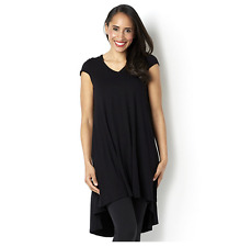 Join Clothes Jersey Short Sleeve Tunic with Godet Back Detail Black Large BNWT