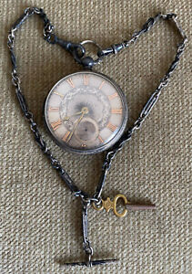 Antique Joseph Medcalf English  Sterling Silver Of Key Wind Pocket Watch, Run