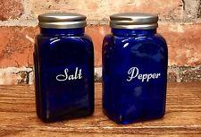 Set of Art Deco Vintage Cobalt Blue Glass Salt & Pepper Shakers