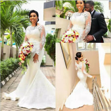 2018 Lace Satin Beaded Mermaid Wedding Dress Long Sleeve White/Ivory Bridal Gown