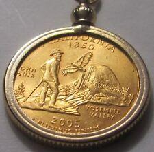 The California Gold Quarter in Gold Bezal and 24 Inch Chain