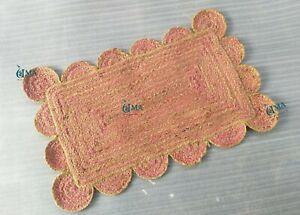 Pink Scalloped Jute Rug, Scallop Rug, Decorative Rug, Natural Jute Rug, Rag
